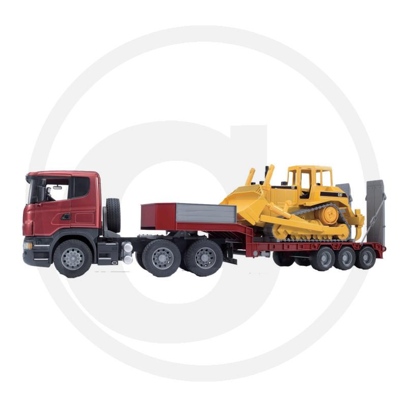 Modello in miniatura camion Scania R-Serie con rimorchio piatto e caterpillar