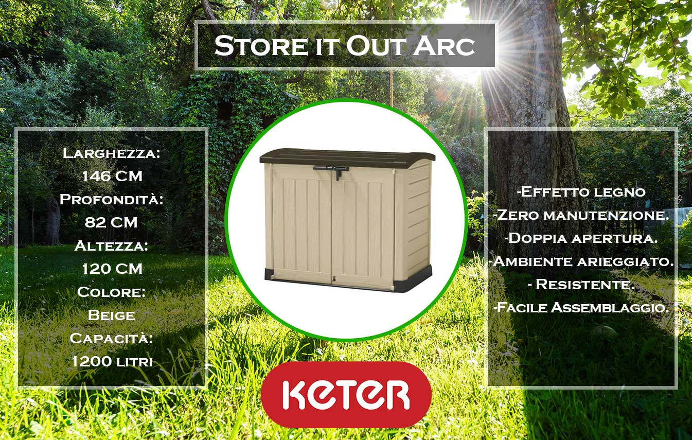 caratteristiche e dimensioni box store it out arc di keter